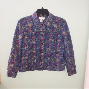 Cold Water Creek Floral Embroidered Denim jacket